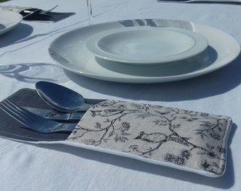 Cutlery Pockets, hand made in Botanical fabric.