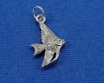Angelfish Charm - Silver Plated Angelfish Charm for Necklace or Bracelet
