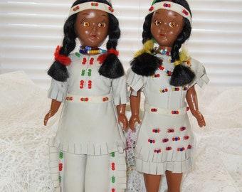 """Vintage Native American Dolls White Deerskin Leather 7 1/2"""" Sleepy Eyes Doll"""