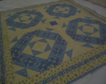 Blue and Yellow Patchwork Quilt
