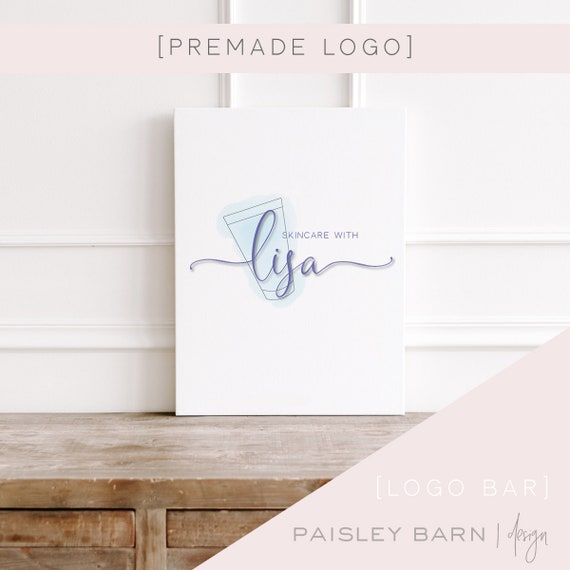 Skincare Beauty Logo | watercolor, team logo, R+F, premade logo, logo design, minimalist, skincare, blue, design studio, photographer
