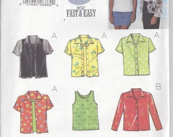Butterick 5373 Sewing Pattern for Fast & Easy Shirts and Tank Tops, Misses'/Misses' Petite Sizes 12 14 16