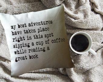 book adventures throw pillow cover