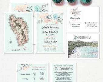 Destination wedding invitation Dominican Wedding Invitation Caribbean Wedding card beach wedding
