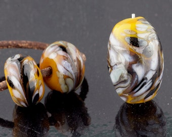 Ocher Marble Focal  and Matching Pair Handmade Glass Lampwork Beads by Pink Beach Studios - SRA (1914)