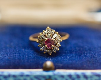 Vintage 14k Solid Yellow Gold Ruby and Diamond Halo Ring, Size 5 // Promise Ring // Alternate Engagement Ring // Baguettes and Rounds //
