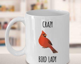 Crazy Bird Lady Red Cardinal Coffee Mug Ceramic Tea Cup
