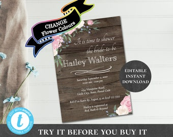 Bridal Shower Invitation Editable Printable Rustic Florals CHANGE FLOWER COLORs Pink Blue Purple Cream Teal Baby Sprinkle Anniversary PCRFWS