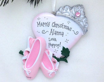 Ballet Ornament / Ballet Slippers with Heart and Crown / Princess Ornament / Personalized Christmas Ornament