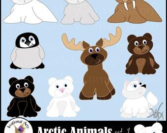 All new Arctic Animals set 1 INSTANT DOWNLOAD 9 arctic animals digital clipart graphics harp seal moose polar bear arctic fox walrus penquin