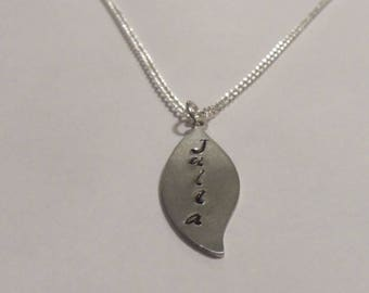 Handstamped leaf necklace, silver necklace, gifts for her, women jewelry, girls necklace, handstamped charm, children necklace, silver chain