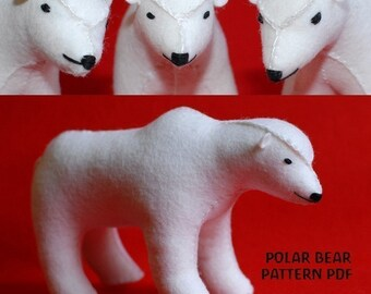 Polar Bear Pattern PDF, Christmas decoration, Animal, Felt Pattern, Instant Download