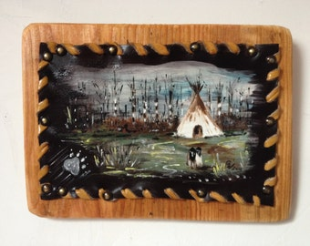 "Tepee - painting on leather   ""two kids"""