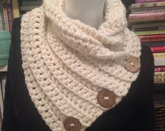 Cream Cowl Chunky Convertible Neck Warmer 3 Buttons