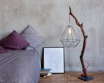 Driftwood lamp with Edison bulb. Treibholzlampe. Metal shade. Red wire. Floor Lamp.