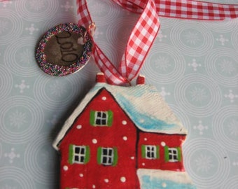 Christmas ornament personalized with date and message, little red house