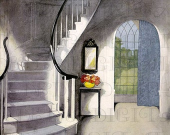 Striking 1920s HALLWAY and STAIRS Illustration! Vintage Digital Home INTERIOR Illustration Download. Perfect  for New Home Cards!