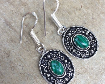 Earrings vintage silver and malachite earrings vintage earrings • • • old Vintage earrings