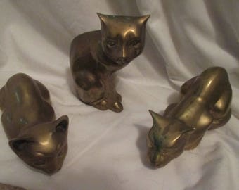 LOt of 3 SOLID BRASS Cat Pouncing STance or Lounging  Heavy Pieces! MInt!