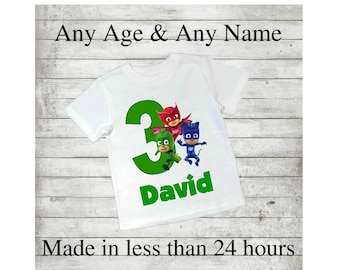 PJ Masks, Gekko, Catboy, Owlette, Birthday, 1st, 2nd, 3rd, 4th, 6th, 7th, Personalised, Printable Iron On Transfer, Decal, Digital, T shirt