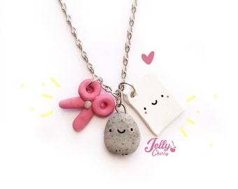 Stone paper or scissors kawaii necklace