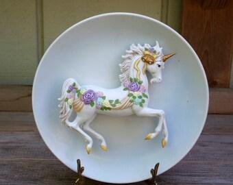 Vintage Unicorn Plate 3-Dimensional