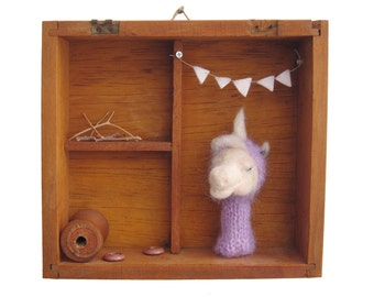 NURSERY WALL DECOR, Unicorn Finger Puppet in a Decorative Box, Children Room Art, Eco Friendly Toy, Wall Hanging