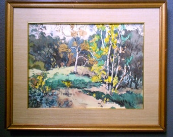 Original Cecil Angelo Maggi Vintage Modern Contemporary California Plein Air Watercolor Impressionist Landscape Gallery Painting