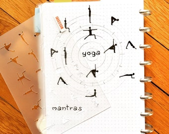 "Yoga Stencil - Bullet Point Journal Stencil, fits Leuchtturm and Moleskine 5"" by 7"""