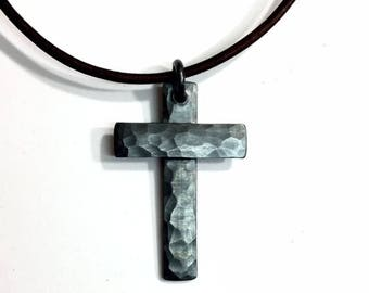 Darkly Oxidized Sterling Silver Cross - Custom Stamped - Personalized Pendant - Hammer Textured Cross - Oxidized Patina - leather necklace