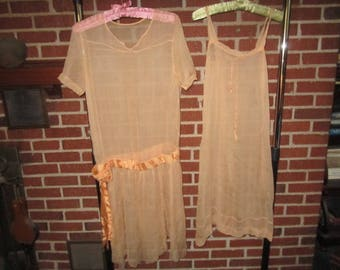 Vintage 1920s Silk Chiffon Peachy Pink Flapper Tunic Dress with Original Underslip