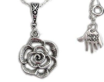 Cutout silver flower pendant necklace with Celtic Bail and silver plated