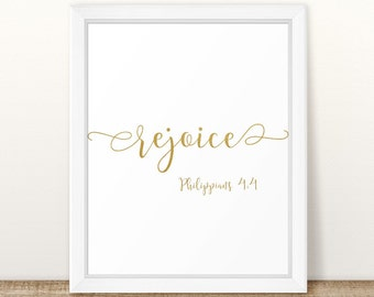 Philippians 4:4, Rejoice, Bible Verse Quote, Bible Wall Art, Scripture Art, Nursery Art, Nursery Decor, Wall Art, Bible Verse Wall Art