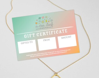 Gift Certificate to jewelry by A Tea Leaf Etsy store