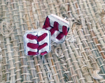 Sterling Silver Real Baseball Seam Earring • leather baseball • square stud earrings • baseball mom jewelry • team mom gift • recycled gifts