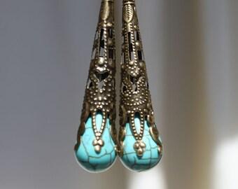 Turquoise Brass Earrings Drop Dangle earrings Turquoise Earrings Jewelry Long Earrings Lightweight  Filigree Victorian earrings Gift for Her
