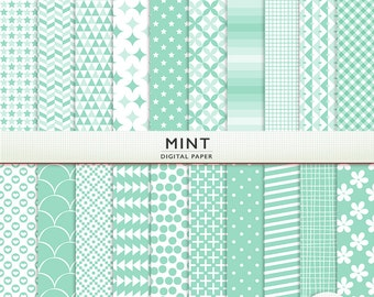 Mint Digital Paper - Scrapbooking -  Instant Download & Printable G7613