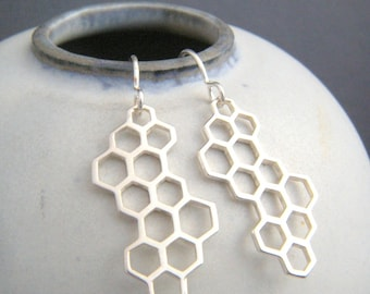 sterling silver honeycomb earrings simple modern long large dangle bee hive geometric leverback hook drop nature jewelry unique gift 1 1/8