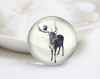 Handmade Round Deer  Photo Glass Cabochons (P3716)