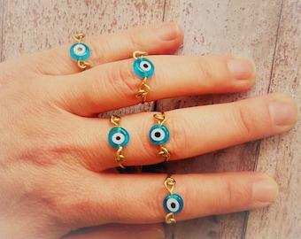 Evil Eye Ring, Gold Evil Eye, Minimal Eye Ring, Eye Midi Ring, Gold Eye Ring, Brass Ring, Boho Ring, Stacking Ring, Eye Ring, Greek Jewelry