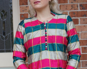 Jazzy Vintage Checked Tunic Top