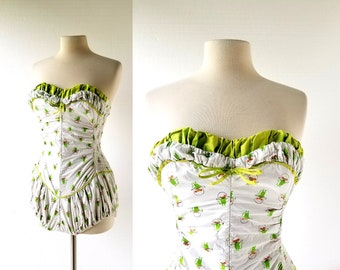 Vintage 50s Swimsuit | Jump Roping Green Mice | Catalina Bathing Suit | XXS