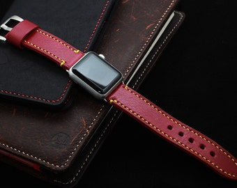 Hand Stitched Leather Apple Watch Strap in RED (personalization available)