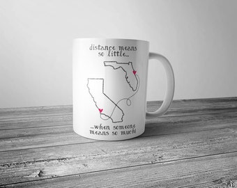 State to State Long Distance Custom Mug - Friendship Relationship Gift, Going Away Gift, Best Friend Long Distance Gift Personalized