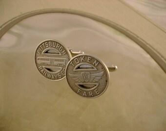 Steel City Too - Vintage Authentic 1949 Pittsburgh Railways Co. Tokens Cufflinks, Man Gift, Mens Gift, Groomsman Gift, Wedding Gift