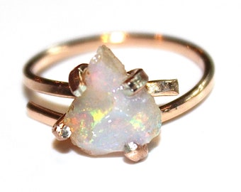 Raw Opal Ring Rose Gold Opal Ring Rose Gold Ring Opal Jewelry Australian Coober Pedy Opal Fire Opal Ring Australian Opal Ring Natural Opal