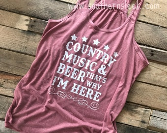 Country Music & Beer That's Why I'm Here Mauve Marble Racerback Tank Top