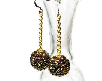 Sparkly Rhinestone Rockabilly Earrings, Ball Dangle, Baubles, Black and Gold Dangle, Retro, Rockabilly Fashion Jewelry, Sparkle, SALE