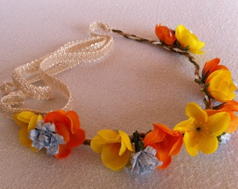 Orange and Yellow Poppy with Blue Marigold Flower Crown