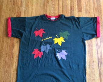 Vintage Canada Oversize Rolled Sleeve Maple Leaves T-Shirt